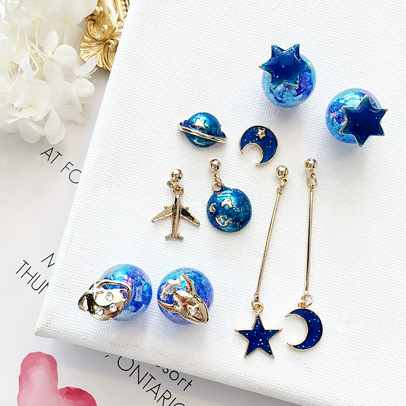 AOMU 2018 New Korean Japan Lovely Blue Universe Planet Star Moon Rocket  Aircraft Stud Earrings for Women Girl Gift a148a2c74359