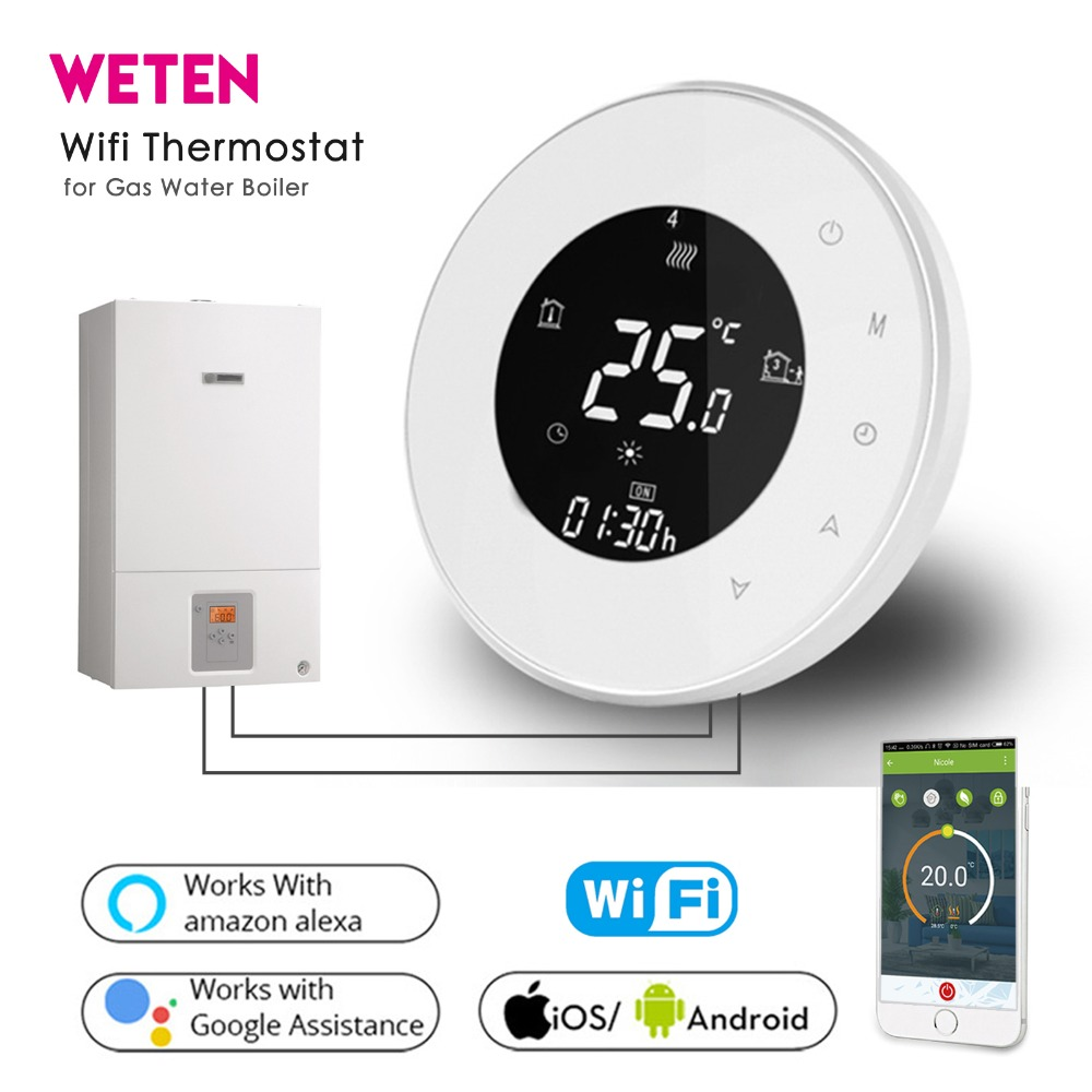 Smart Wifi Wireless Thermostat for Water Gas Boiler Heating White Black Thermostat App Voice Control with