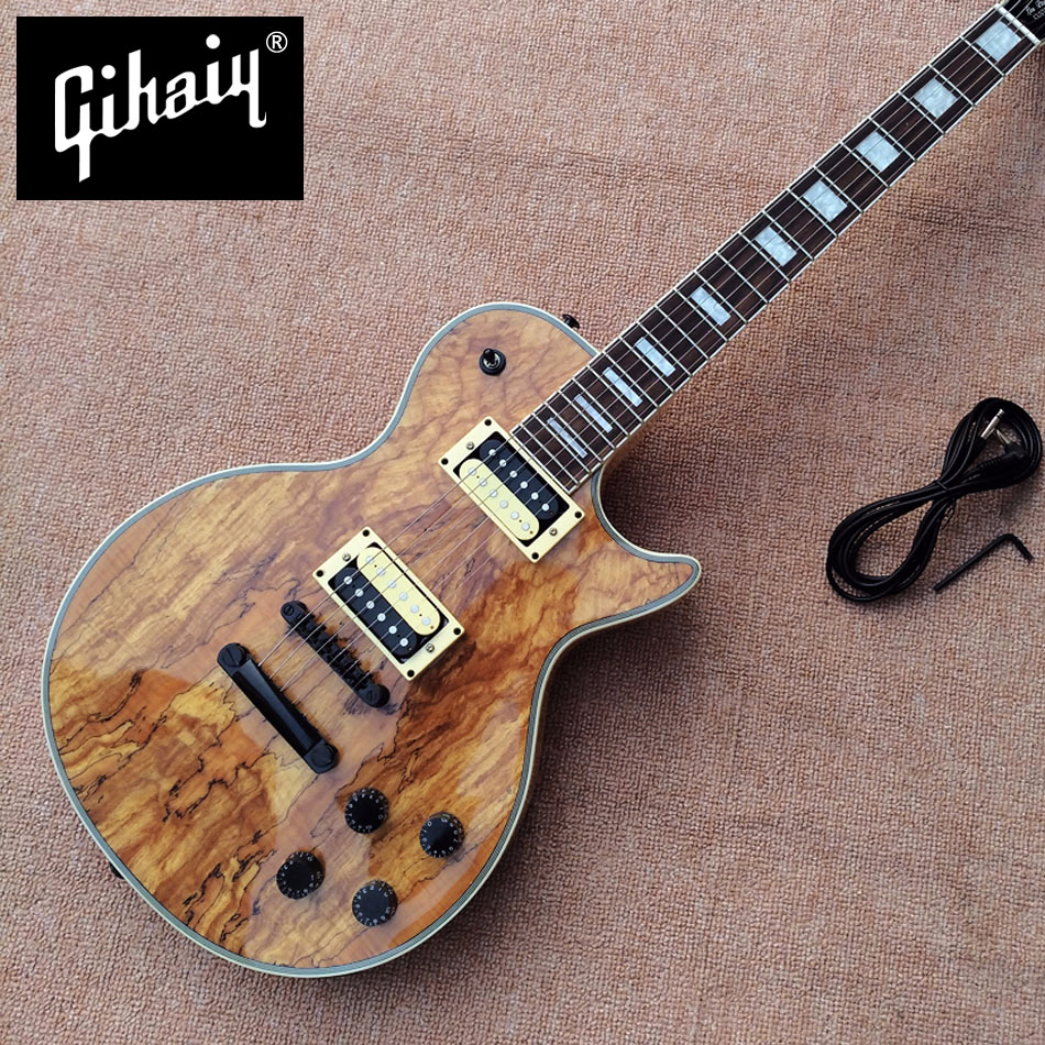 цены New high quality Custom LP electric guitar, Decaying wood top rosewood fingerboard Black hardware Electric guitar, free shipping