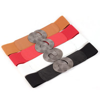 Fasbys 2017 Fashion Style Women Belt Korean Stretch Elastic Waistband Wide Metal Waist Belts 4 Colors