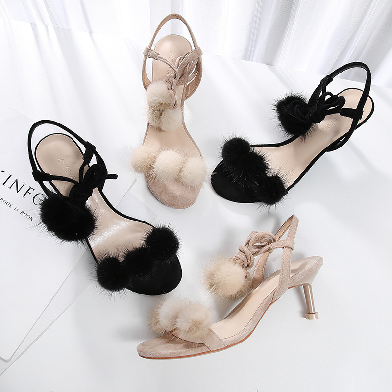 Buy Summer 2019 Women Sandals Fur Flurry Ball Shoes Woman Pumps Solid Flock Sexy Thin High Heels Ankle Straps Elegant Slippers Shoes for only 53.97 USD
