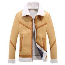 Zozowang Winter Faux Fur Jacket Men Turn-down Collar Fleece Thick Jackets Outwear Warm Thicken Coat Zipper