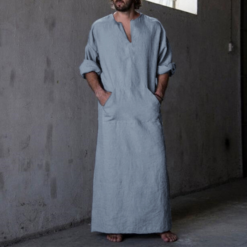 Islamic Man Thobe Kaftan Middle East Mens Shirts Robe Dress Full Length Cotton Long Sleeve V Neck Arab Kaftan Clothing Plus Size