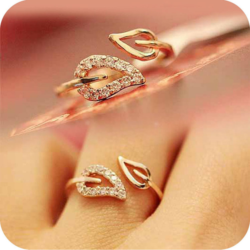 New arrival fashion 1 pcs two leaves imitation diamond Vintage style fashion rings