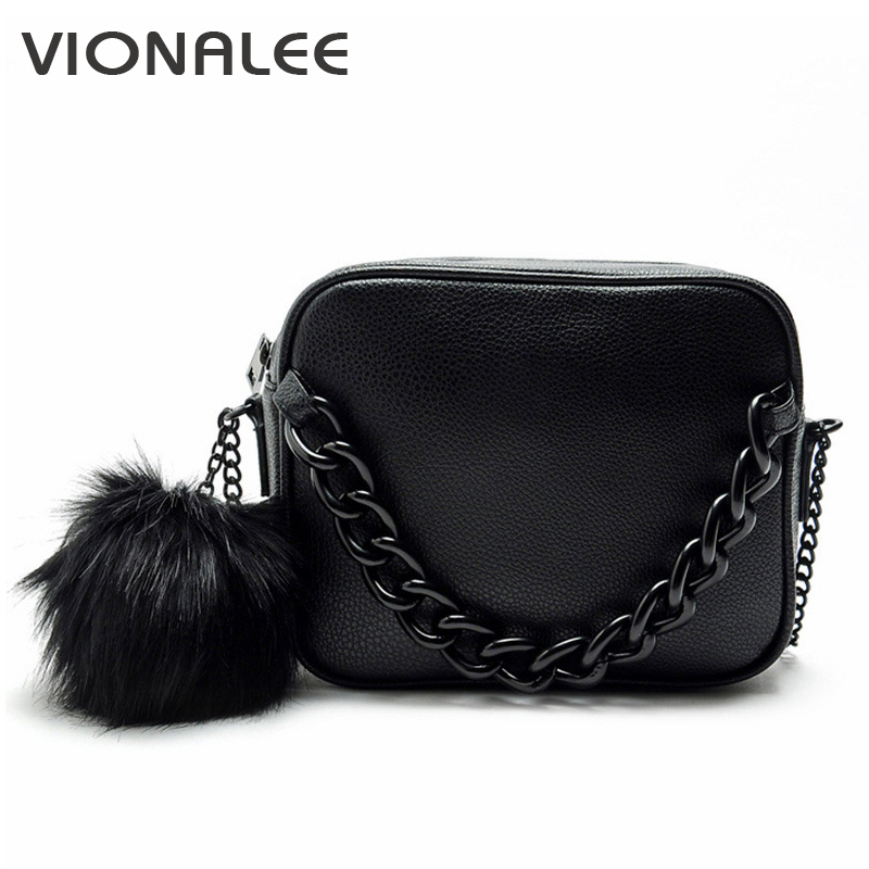 Famous brand handbags women shoulder bag designer plush ball chain leather bag small crossbody bags for women Messenger Bags 2017 new designer famous brand bag for women leather handbags ladies shoulder bag small crossbody bags woman messenger bags sac