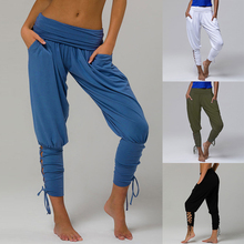 Casual Solid Pants Women Bow Hollow Out Pencil Trousers Elastic Waist Drawstring Pantalon Femme Loose Oversized Joggers Ladies