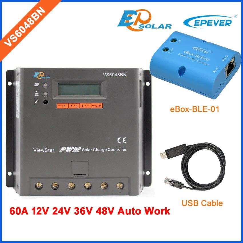 Panneau solaire contrôleur de batterie PWM livraison gratuite livraison rapide VS6048BN 60A 60amp câble USB + boîte BLE