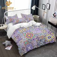 Stitching Pattern Bedding Set Purple Duvet Cover Queen Fashion King Size Bedding Ethnic Style Home Textile 3D Bed Linen 25