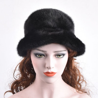 Real whole black mink fur hats and winter warm mink skin hat for women Lace Embroidery flower cap new chapeau adjustable