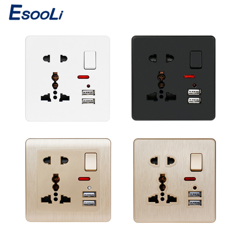 Esooli 13A Universal 5 Hole Switched Outlet 2.1A White/Black/Gold Wall Power Socket Dual USB Charger Port LED Indicator