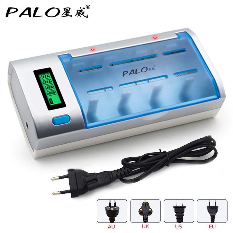 PALO 2016 New Rechargeable LCD Display Smart Screen Battery Charger For Ni-MH NI-CD AA/AAA/SC/C/D/9V Size Batteries 2pcs rechargeable aa batteries universal aaa aa battery charger us plug ni mh ni cd batteries charger for rc camera toys etc t25