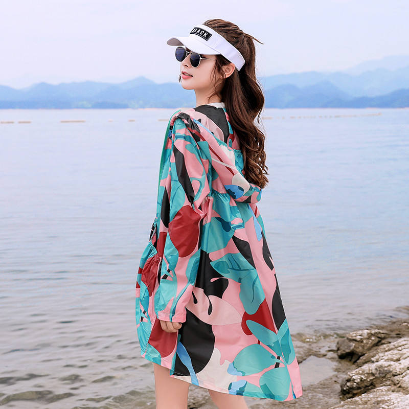 2019 new Sun Protection Clothing female Korean Large Size loose camouflage   Trench   coats Summer sunscreen shirt for Women V708