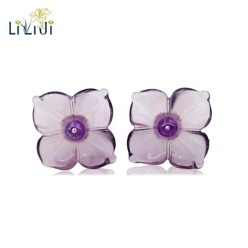 LiiJi Unique 925 Sterling Silver Natural Purple Crystal Hydrangea Shape Flowers Stud Earring