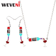 WEVENI Original Enamel Alloy Red Wine Bottle Cup Heart Earrings Drop Dangle Necklace Pendant Jewelry Sets Vintage Birthday Gift(China)