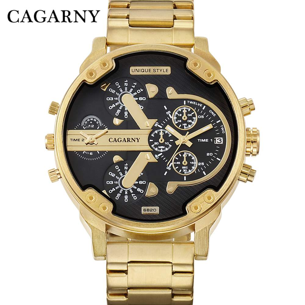 CAGARNY Brand Luxury Watch Men Gold Steel Bracelet Strap Quartz Watches Good Quality Male Wristwatches Fashion Brand NATATE 8