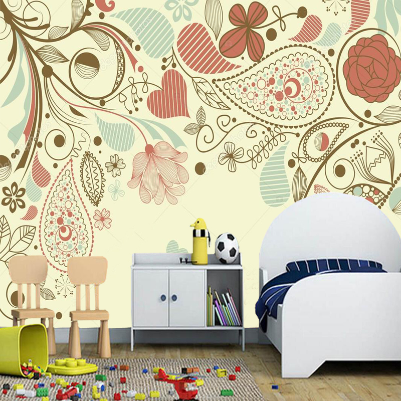 Romantic wallpaper,Floral frame, paisley motif mural for living room kids room sofa background wallpaper papel de parede  PVC raven a paisley motif cachmire