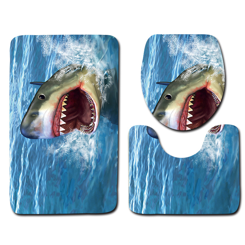 3Pcs/Set 3D Home Bathroom Door Floor Tapete Shark Soft Coral Fleece Bath Tapete Pedestal Toilet Washable Floor Rugs Tapete ...