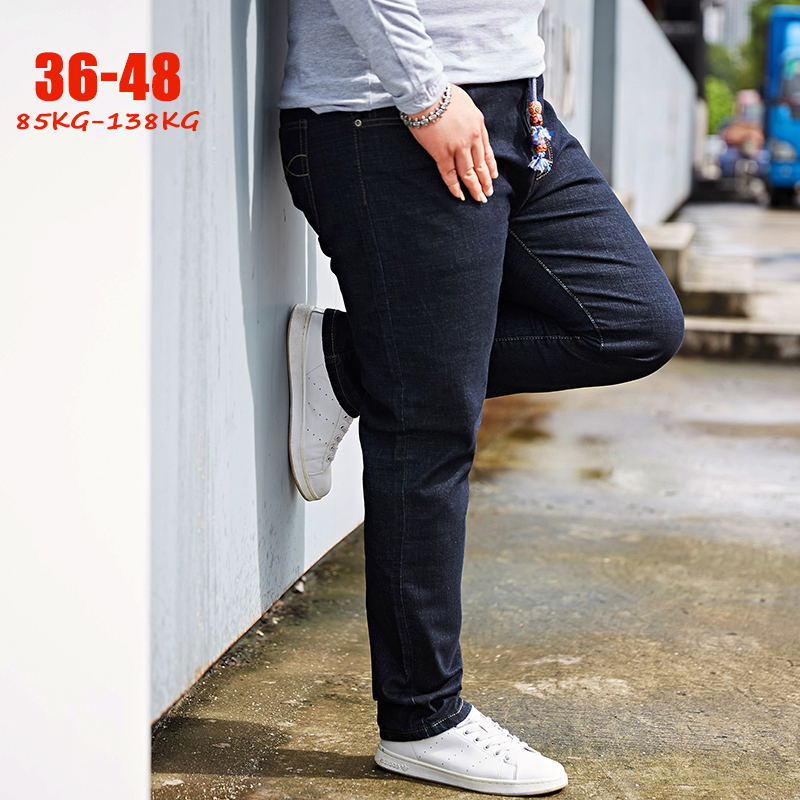 New Plus Size 36-48   Jeans   Men Autumn Winter Stretch Big Size Denim Pants Men Loose Casual Straight Oversize Male   Jeans   Trousers