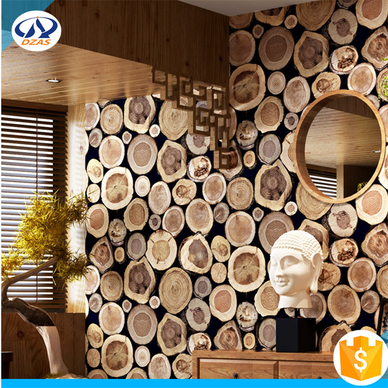 Chinese imitation wooden stake 3D stereo retro tree stump wallpaper WH Wallpaper