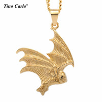 Fashion Halloween Jewelry Stainless Steel Gold Tone Bat Batman Superhero Pendant Chain Necklace Vampire Jewelry For