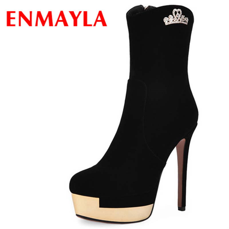 ENMAYLA Shoes Woman Zippers High Heels Winter Boots Sexy Black Round Toe Platform Shoes Ankle Boots for Women Motorcycle Boots enmayla ankle boots for women low heels autumn and winter boots shoes woman large size 34 43 round toe motorcycle boots
