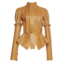 Women casual jackets autumn winter brown plain pu slim stand collar removable ruffle button patchwork casual jacket Leather Coat
