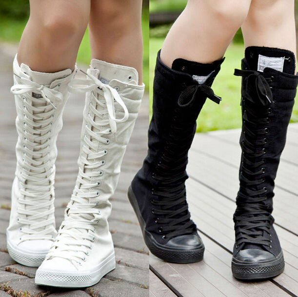 Details about  /Women Punk Knee High Spring Shoe Pointy Hollow Gladiator Shoes Lace Up Hu219