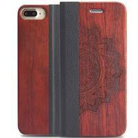 Premium Handmade Wooden Magnetic PU Leather One Card Slots Holder Flip Pouch Kickstand Cover For Apple iPhone X 7 plus 6 8 PLUS