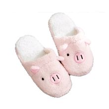 2018 New Cotton Slippers Women Cute Pig Winter Couple Warm Indoor Non-slip Bear Fur Slippers Female Home Bedroom Plush Slippers недорого
