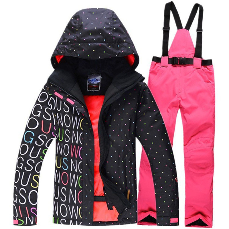 Snow suit Coats Gsou Snow ski suit set waterproof windproof warm Snowboarding Clothing Snow jackets and bibs pants for women