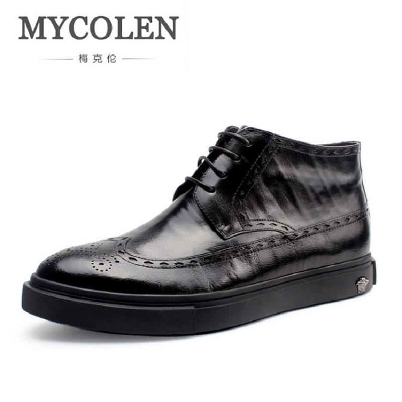 MYCOLEN Luxury Brand Cow Leather Ankle Boots Men Retro Bullock Carving Martin Boots Comfortable Fashion Mens Winter Footwear serene handmade winter warm socks boots fashion british style leather retro tooling ankle men shoes size38 44 snow male footwear
