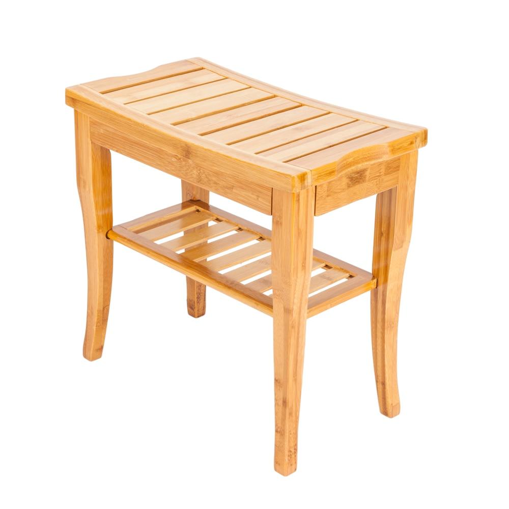 47.5x26x44.5cm Bamboo Shower Seat Bench Bathroom Spa Bath Organizer Stool with Storage Racks Shelf Wood Color47.5x26x44.5cm Bamboo Shower Seat Bench Bathroom Spa Bath Organizer Stool with Storage Racks Shelf Wood Color