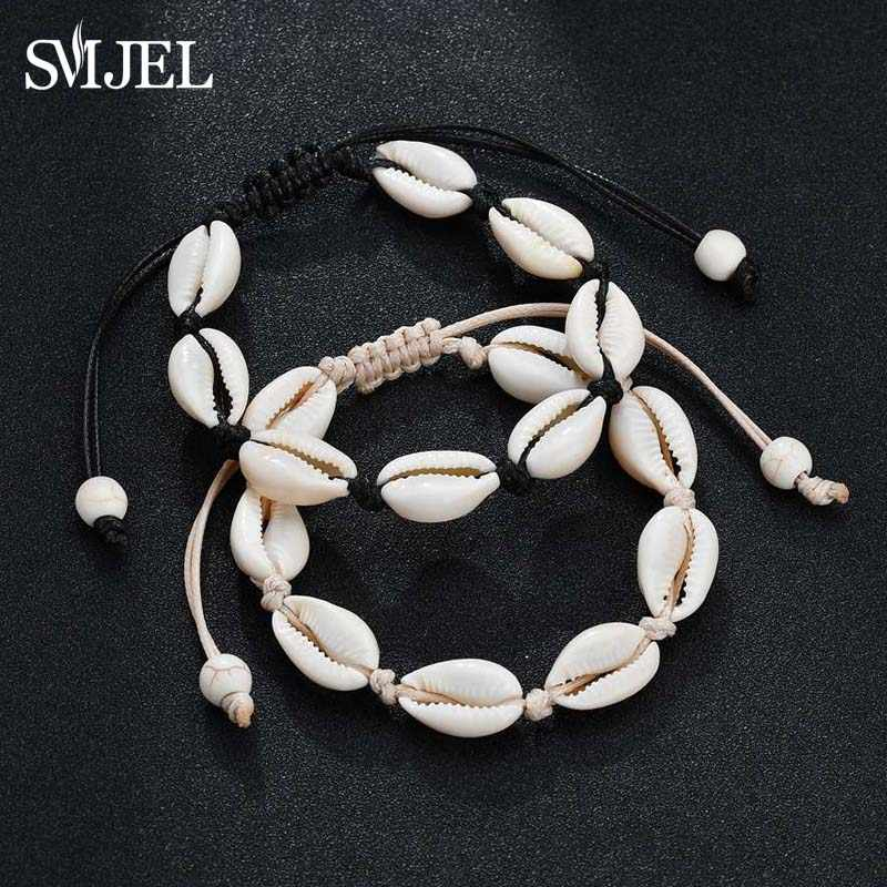 SMJEL Lucky Boho Sea Shells Bracelets & Bangles Rope Chain Bracelet Woman Girls Simple Beach Jewelry Best Friend Gifts