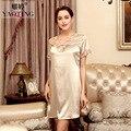 Spring Summer V-neck Woman Imitation Silk  Sexy Nightgown  Homewear Sleepwear dress