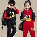 Meninos conjunto de roupas infantis Ternos Do Esporte Conjuntos de Roupas New Outono Criança Com Capuz Grande Girl & Boy Tops + Calças Define 4 6 8 10 12 anos