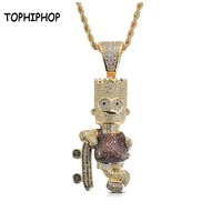 Cartoon Simpson Brass Pendant Micro Paved AAA Cubic Zircon Charm Iced Out CZ Stone Gold Necklace Hiphop Jewelry Men Male