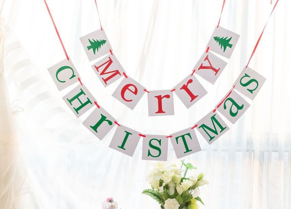 Free Shipping 1 X Merry Christmas/Be Merry Banner Christmas Photo Prop Sign Christmas Party Garland Decoration