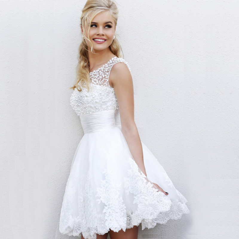 Free Shipping Real Women Dress A Line Mini Beading Prom White Wedding Party Plus Size Dresses In From Weddings Events