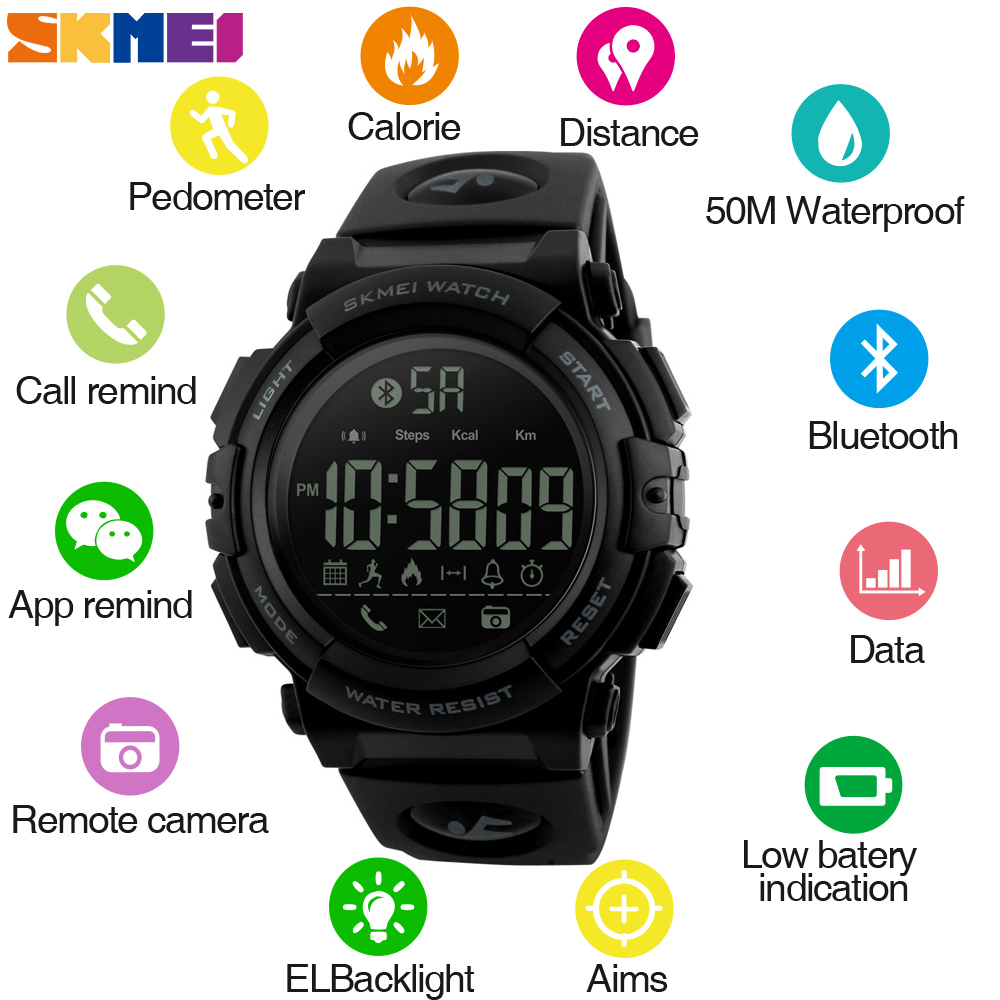 <font><b>SKMEI</b></font> Fashion Smart Watch Men Pedometer Calories 5Bar Waterproof Fitness Tracker Bluetooth Digital Watch Relogio Masculino <font><b>1303</b></font> image