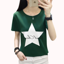 Cotton T Shirt Women Casual O-Neck Short Sleeve Tops Kpop Harajuku T-Shirt Tee Femme Plus Size 2019 Green Red