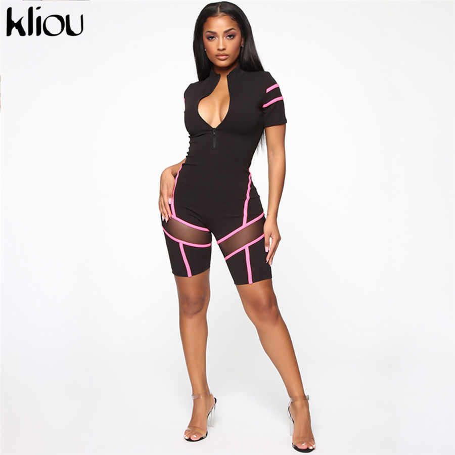 Kliou ผู้หญิงเซ็กซี่ตาข่ายวัสดุ patchwork playsuit zipper คอเต่า rompers ยืดหยุ่น 2019 หญิงเซ็กซี่ skinny