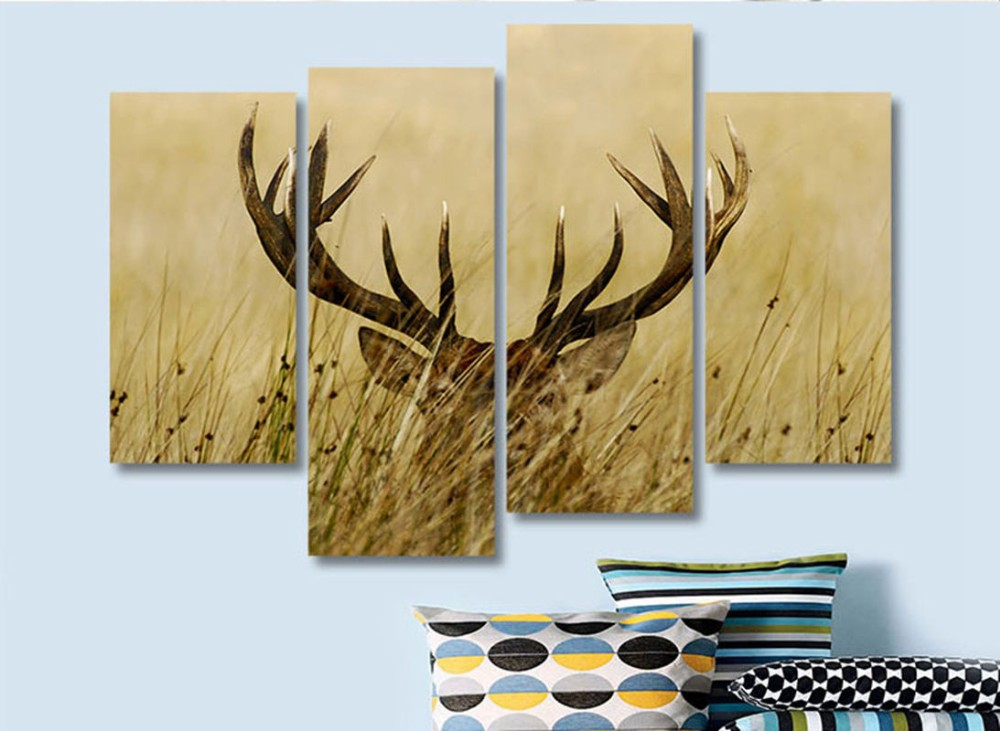 4 Panel Wall Art Deer Stag With Long Antler In The Grass Painting ...