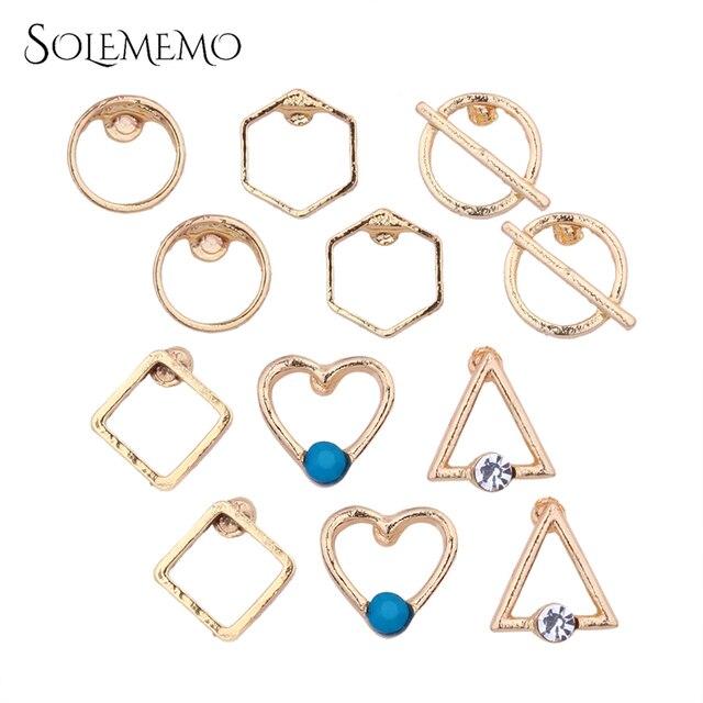 e90e131dc Solememo 6 Pairs/Set Boho Punk Simple Metal Gold Stud Earrings Set Vintage  Geometry Earring Set For Women Wedding Fashion E1931