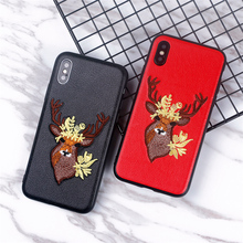 luxury Handmade embroidery 3D Deer Head case for iphone X girl phone x 6 6s 8 7 plus cover iphoneX Case