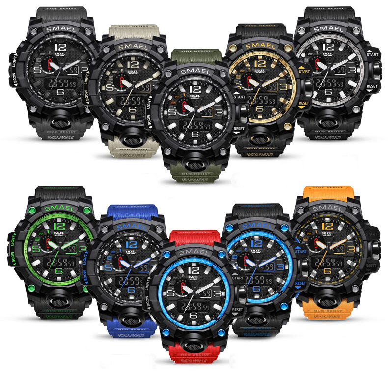 Top Brand Men Sports Watches Dual Display Analog Digital Led Electronic Quartz Wristwatches Waterproof Swimming Military Watch Choice Materials Men's Watches