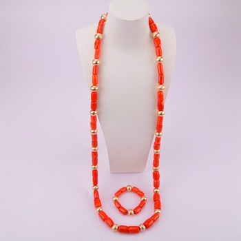 Luxury Men Costume Jewellry Nigerian Wedding Necklace African Beads Coral Jewelry Set for Bridegroom CJS14