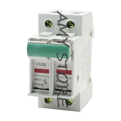 35mm DIN Rail Overload Protection 2P 10.3mm x 38mm Fuse Holder AC 380V 32A 2 pin thermal overload protection