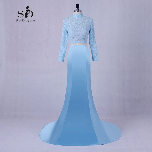 Kleider Prom Günstige Lace Mermaid Sky Blue Party Kleider Lange ...