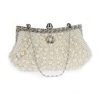 Fashion Women Evening Bags Faux Pearl Bead Rhinestone Day Clutches Female Wedding Bridesmaid Party Banquet Charm