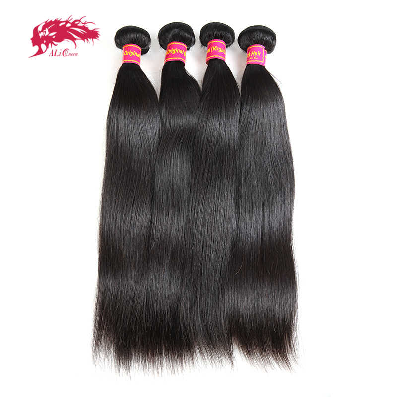 "Ali Queen Hair Products 10A 4pcs Lot Natural Color 6""~30"" In Stock Brazilian Virgin Hair Straight Human Hair Weave Bundles"
